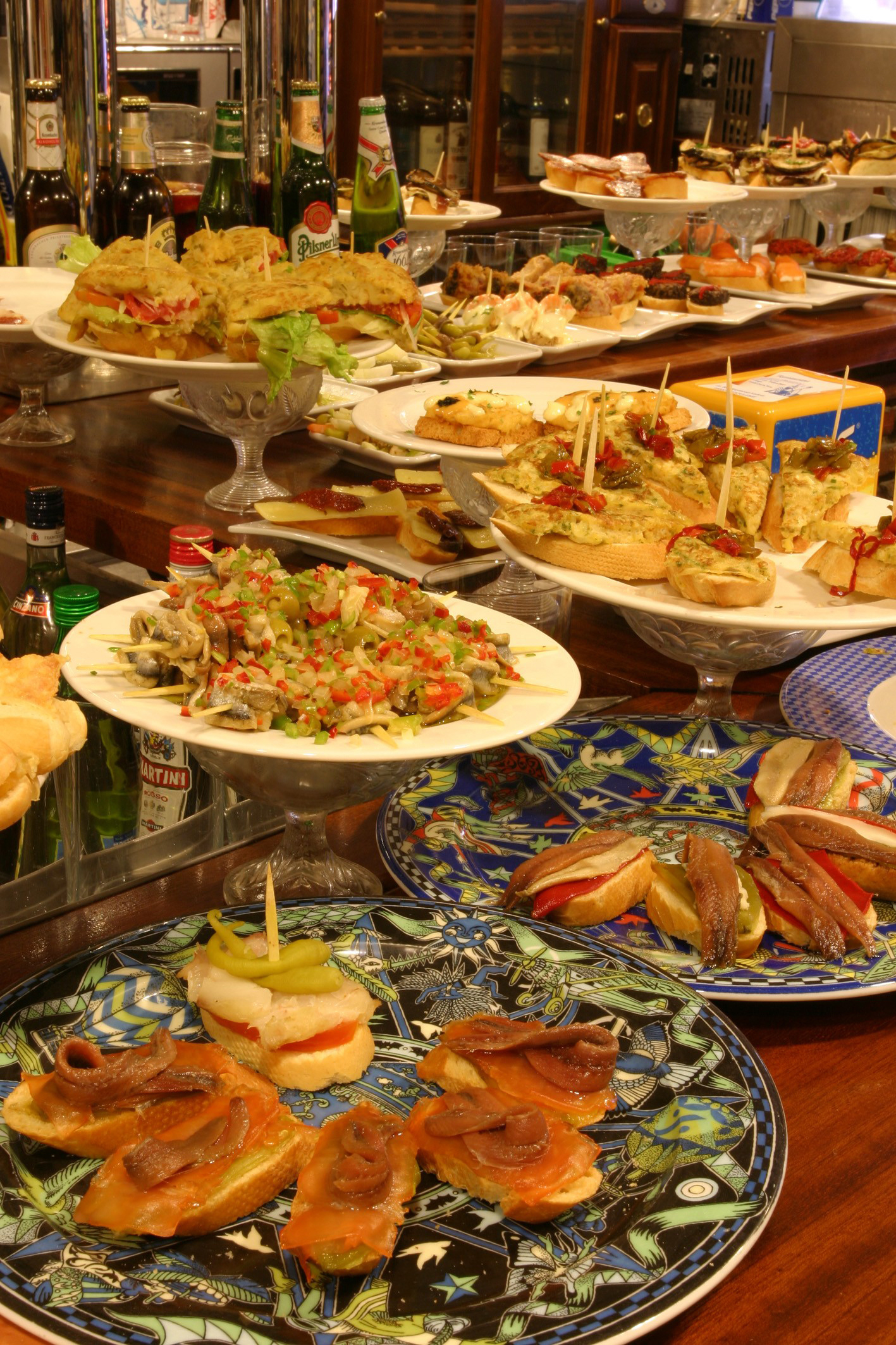 Endless variety of Pintxos (that's how they call tapas here) in the bars of San Sebastian